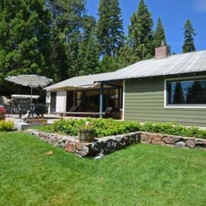 Tahoe City vacation rental with sunny back yard on golf course dog friendly