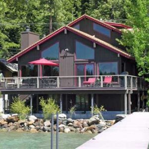 North Lake Tahoe lakefront vacation rental with pier, buoy and game room