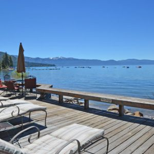 Pine Cove Cabin sunny deck over looking Lake Tahoe